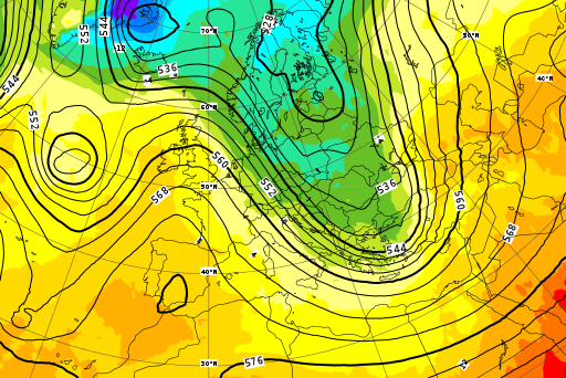 Model ECMWF 500 hPa